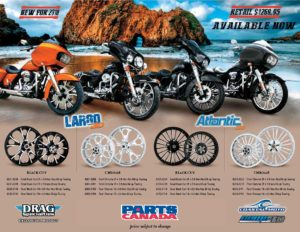 Available at HogTown Cycles, new for 2018 Largo 3D & Atlantic 3D Motorcycle Wheels in Chrome and Black Cut
