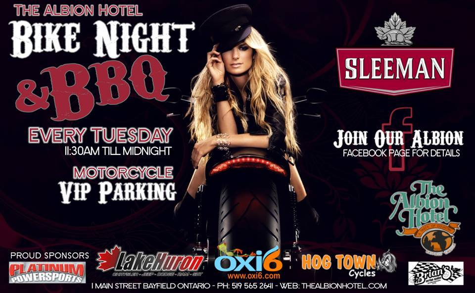 Bike Night at the Albion Hotel in Bayfield, Ontario every Tuesday night from May to September