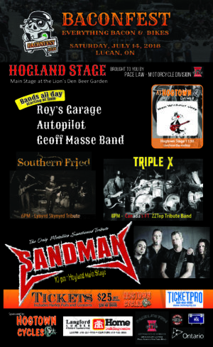 Baconfest 2018 Live Music Line-up at Hogland | Saturday, July 14th in Lucan, Ontario