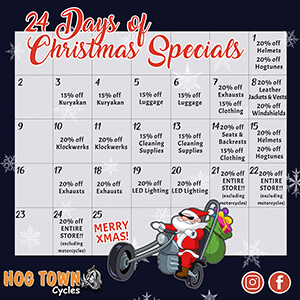 24 Days of Christmas Specials in December 2018 at Hogtown Cycles