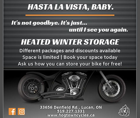 Heated winter storage for motorbikes at Hogtown Cycles