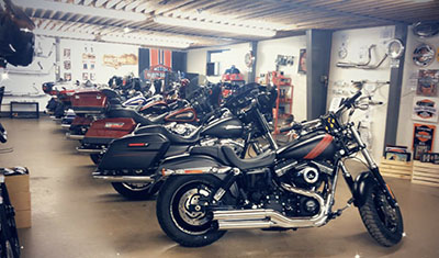 Selection of used pre-owned Harley-Davidson motorcycles at Hogtown Cycles